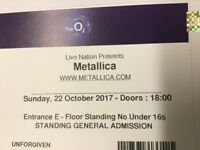 Metallica 22nd October @ O2 Arena 2 Standing tickets for sale at below face value