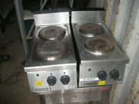 STAINLESS STEEL 'ZANUSSI' 2 X 2 RING PLATES/HEATERS. ELECTRIC. FREE-STANDING/TABLE TOP. DELIVERY