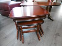 Hard Wood Coffee Table with nest of side tables - good condition.