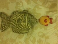 2 x decorative pottery fishes
