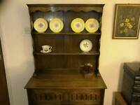 Solid oak traditional dresser and bookcase.