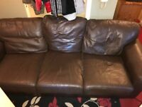 FREE!!!! 3 seater brown leather sofa , good condition