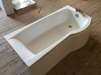 1700 x 800mm Shower Bath, Taps, Curved Panel & Screen.