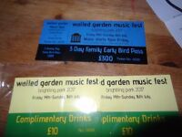 Family weekend camping pass to the Walled Garden Music Fest in Brightling park