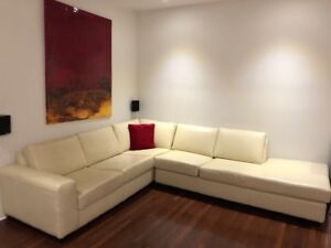 Sand coloured all leather Canadian made sectional couch