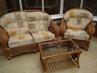 Finest Quality Rattan Conservatory Sofa, Armchair & Coffee Table