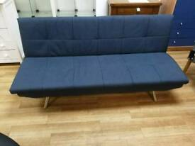 Navy sofabed easy to put up and down with metal legs
