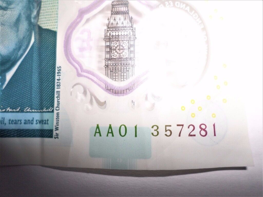 NEW Polymer Five Pound Note – Very Low UNIQUE Serial Number -AA01 357281 - Good Condition