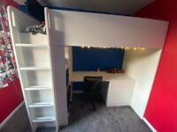 Kids Ikea loft bed with wardrobe, three drawers and desk