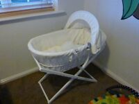 Moses basket + bath tub (both as new) + baby cloths and toys