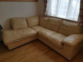 Genuine Leather Corner Sofa- Cream Colour