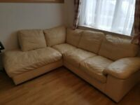 Genuine Leather Corner Sofa- Cream Colour