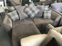 Grey Fabric Chaise Corner L Shape 2 Seater Sofa and Matching Armchair