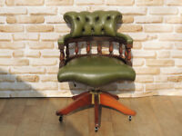 Antique green office chair / captains chesterfield (Delivery)