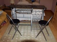 Small kitchen dining table and 2 stools