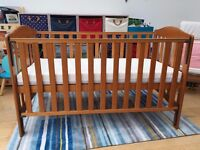 Mothercare Cot Bed – 3 Height Positions Including Mattress