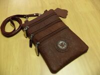 Brown Faux Leather Pouch Bag - Three Zipper Front - One Zipper Back - Thailand - Handmade