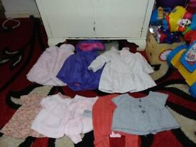 bundle job lot of baby girls jackets and jumpers 6-9 months eight items