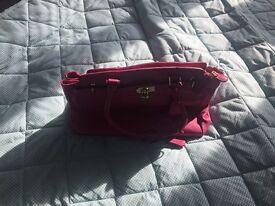 Jasper Conran Pink Leather Handbag and Purse