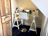 Adjustable Ikea solid wood desk with tempered glass top with adjustable stool