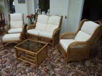 Cane furniture. Settee, 2 Chairs, Footstool and coffee table