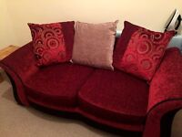 SCS RED TWO-SEATER SOFA BED & STORAGE STOOL // BRAND NEW // GLASGOW - PICK UP ONLY