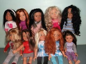 MASSIVE COLLECTION OF DESIGNER FRIENDS DOLLS,WITH WOODEN WARDROBE ,BED AND CLOTHING ACCESSORIES