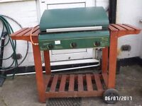 Bounty gas fired 3 burner hooded double shelf Barbeque with griddle