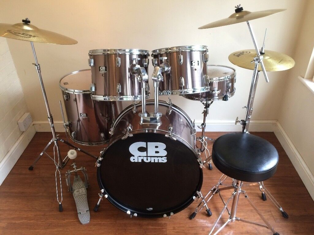 Wokingham Drums Sales - Amazing Copper Finish Drum Kit - With Hardware, Cymbals, Extras - Wow !!!