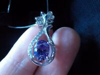 Amethyst Pendant Necklace with Sterling Silver Chain
