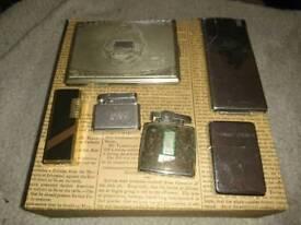 Joblot of 5 petrol cigarette lighters and cigarette case