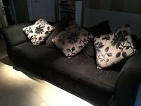 Large Black Sofa and Cushions in Good Condition