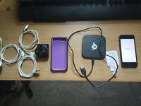 iPhone 5 with Protective case and many cables and power bank