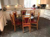 Round Dining Table 6 Leather Chairs Good Condition Delivery Possible