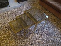 Glass top side tables and matching coffee table