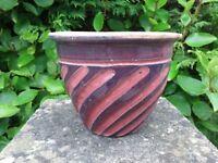 Unusual Purple & Pink Swirl Pattern Ceramic Planter Ceramic Garden Pot 13cm Tall