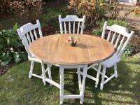 Beautiful shabby chic small vintage oak gate leg dining table and 3 chairs