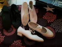 White tap shoes,white jazz shoes and black jazz shoes size 5