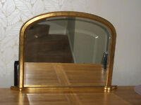 Distressed gold overmantle mirror