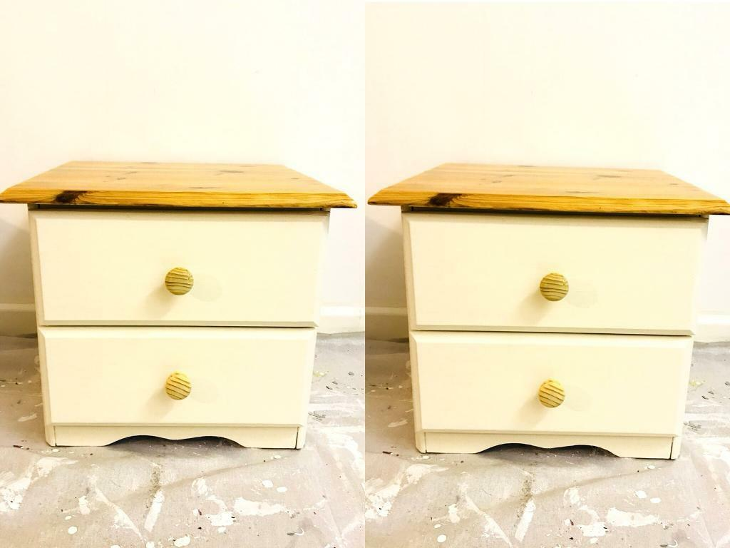 Set of 2 Solid Pine Annie Sloan Cream Shabby Chic Drawers - Bedside Tables.