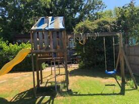 Kids climbing frame swing slide