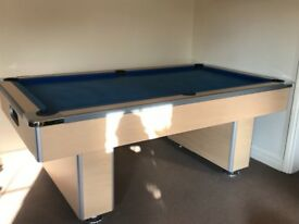 Full size slate bed pool table with accessories