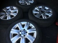 09 MERCEDES C CLASS ALLOY WHEEL FULL SET WITH TYRES 16 INCH