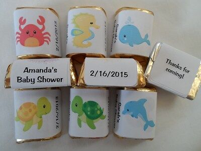 30 PERSONALIZED UNDER THE SEA THEME BABY SHOWER, BIRTHDAY PARTY CANDY LABELS (Candy Themed Baby Shower)