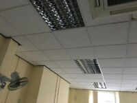 Suspended ceiling and parabolic lighting
