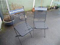 Wrought Iron foldaway garden chairs
