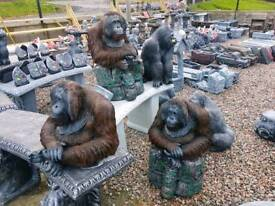 Monkeys gorillas and orangutans concrete garden ornaments