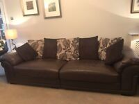 AHF large brown leather 3 piece sofa suite with scatterback cushions. Excellent condition.