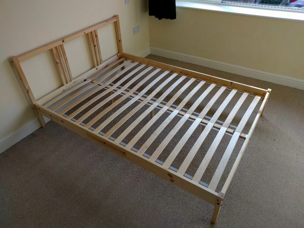 Ikea fjellse bed frame great condition with slats in for Ikea mattress frame