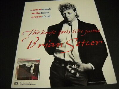BRIAN SETZER cuts through the heart with THE KNIFE... 1986 Promo Poster Ad mint Knife Through Heart